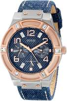 GUESS Women's U0289L1 Silver and Rose Gold-Tone Multi-Function Watch with Denim Strap
