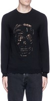 Alexander McQueen 'Punk Skull' metal ring distressed sweater