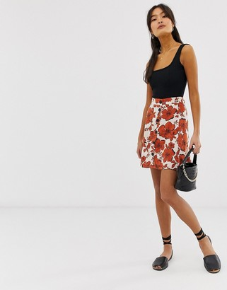 Pimkie skirt with button front detail in floral print-Multi