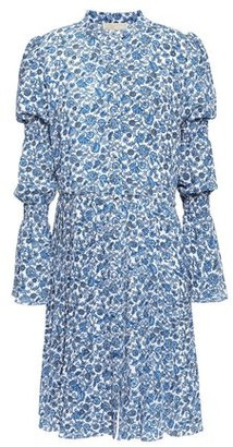 MICHAEL Michael Kors Pleated Shirred Floral-print Cloque Dress