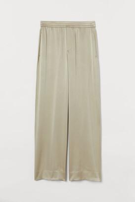 H&M Wide-leg Silk Pants - Beige
