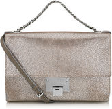 Jimmy Choo REBEL SOFT S Platinum Metallic Grainy Leather Messenger Bag