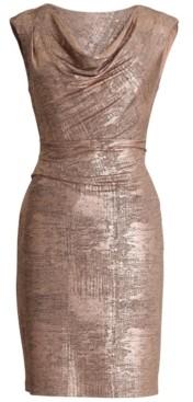 Connected Petite Metallic Cowlneck Sheath Dress