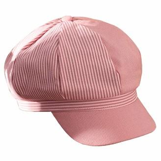 Lankater Stitching Octagonal Cap Cotton Striped Beret Newsboy Hat Visor Outdoor Decoration Flat Caps for Women Pink