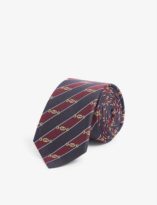 Gucci Logo-embroidered silk jacquard tie