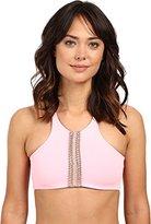 Maaji Women's Rosewood Expressions Pale Rose Surrealism Sporty Top Reversible Bikini Top