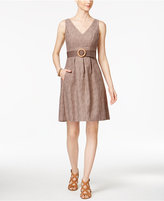 Nine West Cotton Belted Fit and Flare Dress