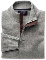 Silver Grey Cotton Cashmere Zip Neck Jumper