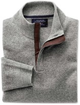 Charles Tyrwhitt Silver grey cotton cashmere zip neck sweater