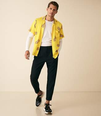 Reiss PAULSON FLORAL CUBAN COLLAR SHIRT Yellow