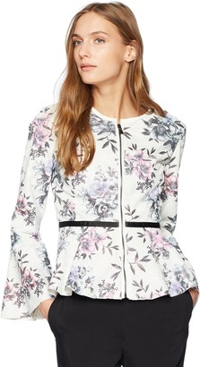 Bagatelle Women's Perforated Peplum Faux Leather Jacket with Floral Print Extra Large