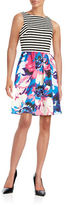 London Times Plus Mixed Print Fit-and-Flare Dress