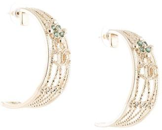 Chanel Pre Owned Half-Moon Embossed Earrings