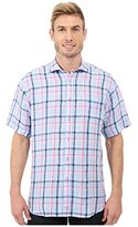 Thomas Dean Men's 1 Btn Sprd Cllr Linen Check