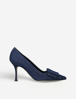 Manolo Blahnik Maysale buckled denim courts