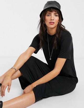 Weekday Beyond longline t-shirt dress in black