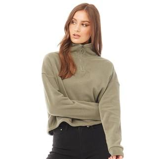 Brave Soul Womens Mary Polar Fleece High Neck Sweatshirt Khaki