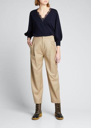 Chloé Lace V-Neck 3/4-Sleeve Wool Sweater