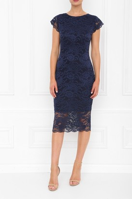 Honor Gold Faye Navy Backless Lace Midi Dress With Cap Sleeves