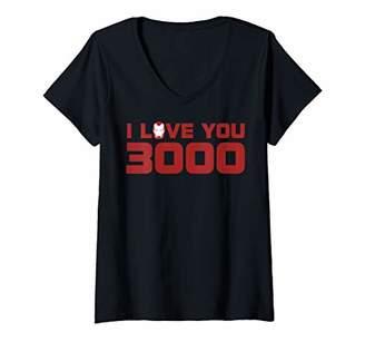 Marvel Womens Avengers: Endgame I Love You 3000 Valentine's Day V-Neck T-Shirt