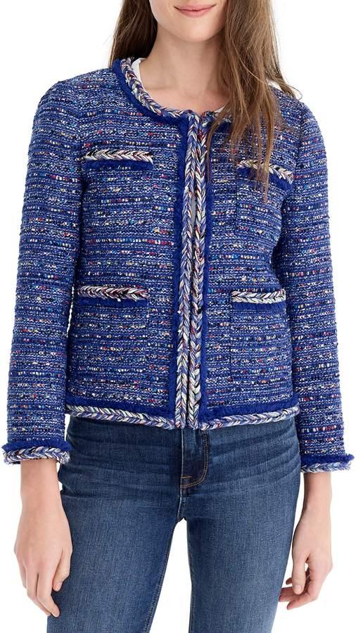 J.Crew Braided Trim Multicolor Cobalt Tweed Lady Jacket
