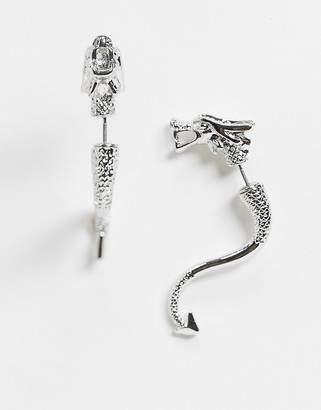 ASOS DESIGN front and back earrings in dragon design in silver tone