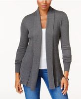 Karen Scott Ribbed Open-Front Cardigan, Created for Macy's