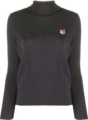 MAISON KITSUNÉ Fox Head logo patch knitted top