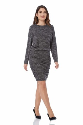 Roman Originals Women Long Sleeve Knitted Dress - Ladies Jersey Pencil Smart Office Business Casual Workwear Party Special Occasion Knee Length Bodycon - Mottled Grey - Size 20