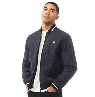 Fred Perry Mens Marl Bomber Jacket Navy