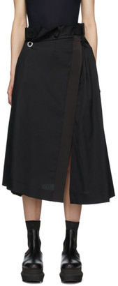 Sacai Black Poplin Gathered Waist Skirt