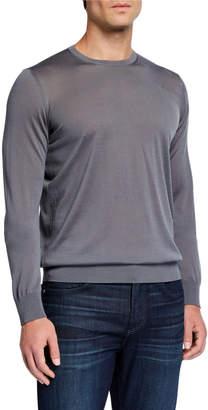 Giorgio Armani Men's Plain Knit Wool Sweater, Gray