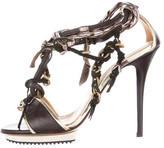 Lanvin Chain-Link Leather Sandals