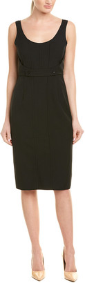 Narciso Rodriguez Twill Silk-Trim Wool Sheath Dress