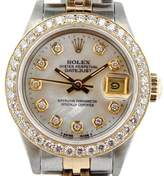 Rolex Datejust 69173 18K Yellow Gold & Stainless Steel Mother Of Pearl Diamond Dial & Bezel Womens Watch