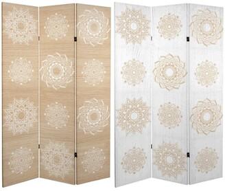 Oriental Furniture Handmade 6' Double Sided Mandala on Birch Canvas Room Divider