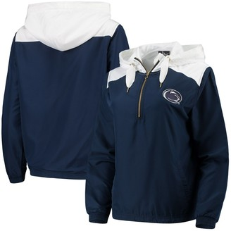 Unbranded Women's Navy/White Penn State Nittany Lions Colorblock Anorak Quarter-Zip Pullover Jacket