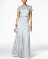 Adrianna Papell Sequined Beaded Gown