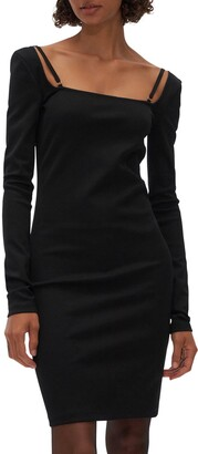 Helmut Lang Square Neck Long Sleeve Dress