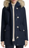 Woolrich Long Hooded Arctic Parka Coat w/ Coyote Fur, Melton Blue
