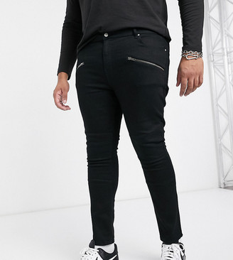 ASOS DESIGN Plus spray on jeans in power stretch with biker details and zips