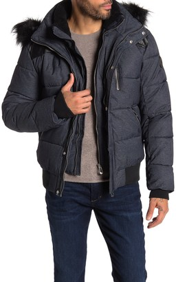 Noize Nick Faux Shearling Lined Faux Fur Hooded Faux Leather Yoke Bomber Jacket