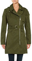 Vince Camuto ?Removable Hood Zip-Up Trench Coat