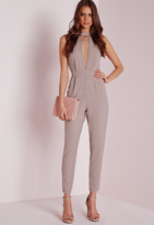 Missguided choker split front Romper taupe