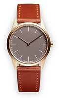 Uniform Wares C33 Quartz Watch with Grey Analogue Dial with Brown Leather Strap