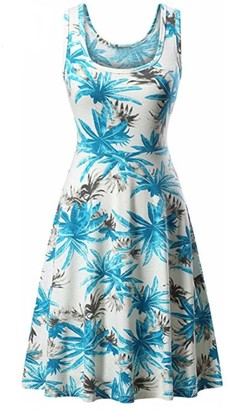 FNKDOR Women Sleeveless Printing Summer Birthday Party Charming Suit Friend's Gifts Beach A Line Casual Overalls Shift Dress Floral Dress Layered Skirt BlueUK-20/CN-XL