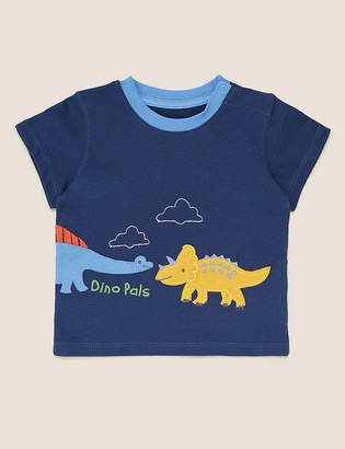 Marks and Spencer Pure Cotton Dinosaur Applique T-Shirt (0-3 Yrs)