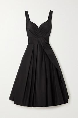 Alexander McQueen - Pleated Cotton And Silk-blend Midi Dress - Black