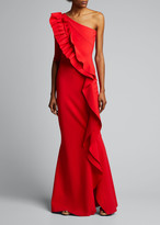 Chiara Boni 1-Shoulder Ruffle-Trim Mermaid Gown
