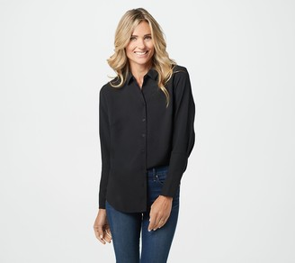 Elizabeth & Clarke Woven Button-Front Collared Top with StainTech